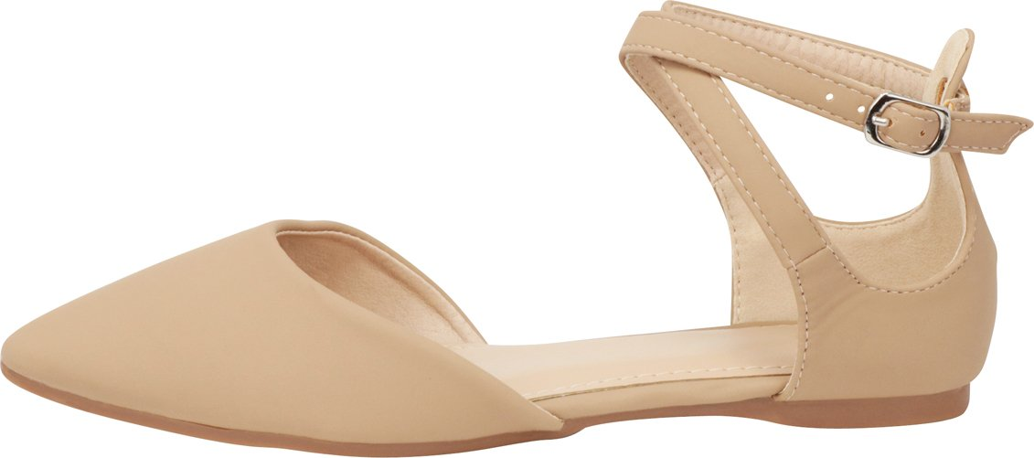 Cambridge Select Women's Closed Pointed Toe D'Orsay Crisscross Strap Ballet Flat B07F6NG1N8 6 B(M) US|Taupe Nbpu