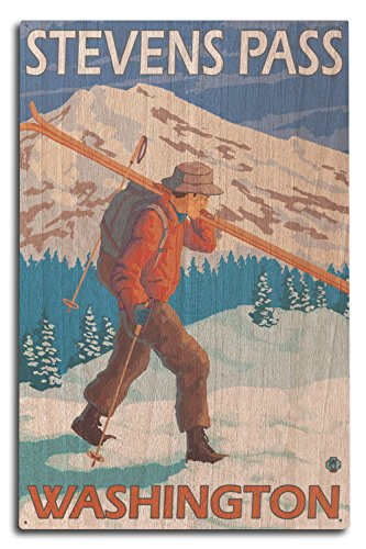 Stevens Pass, Washington - Skier Carrying Snow Skis (10x15 Wood Wall Sign, Wall Decor Ready to Hang) (Signs Vintage Ski)