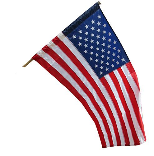 American Flag--100% Made In USA Flags--This Pole Hem US Flag is Tough Enough for Strong Weather and Hot Sun With Embroidered Stars and Sewn Stripes -Pole Not Included (3' x 5') Hot Usa Flag