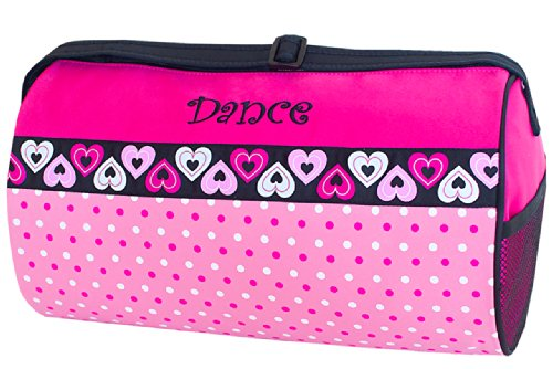 Sassi Designs Dance Duffle with Dots and Hearts - Grosgrain Dots Fun
