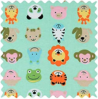 product image for SheetWorld 100% Cotton Flannel Fabric by The Yard, Animal Faces Aqua, 36 x 44