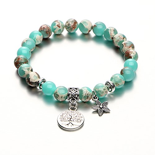 17mile Tree of Life Flower Charm Natural Stone Bracelet Gemstone Yoga Bead Buddhism Bracelet Stretch Prayer Gifts for Women and ()