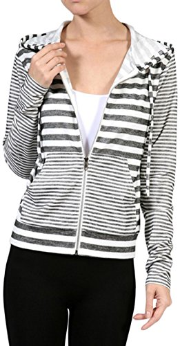 - ToBeInStyle Women's L.S. French Terry Stripe Zip-Up Hoodie - Black - Large