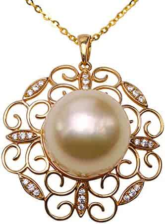 10a0519c3 JYX Pearl Pendant 14mm Round South Sea Golden Pearl Bead Fine 14k Gold  Hollow Inlaid Diamonds