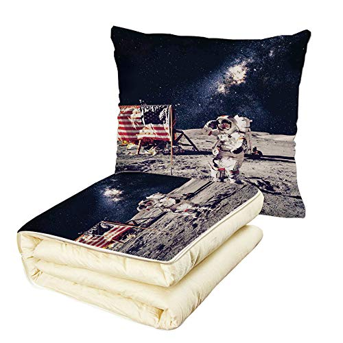 Quilt Dual-Use Pillow Outer Space Decor American Spaceman on Moon Future Solar Discovery in Deep Technology View Multifunctional Air-Conditioning Quilt Blue Grey by iPrint