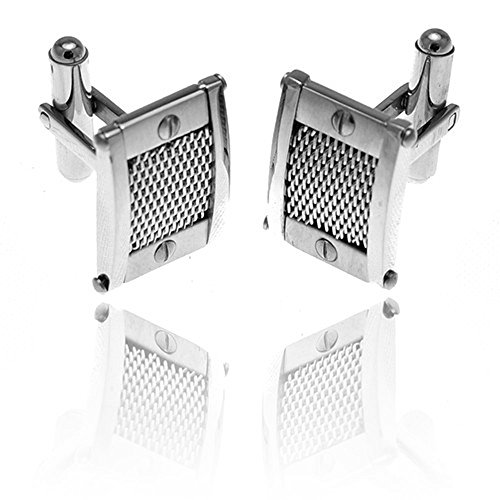 Stainless Steel Cufflinks With Mesh Relief And Screws Design