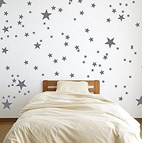 Silver Wall Decal Stars (123 Decals) | Easy to Peel Easy to Stick + Safe on Painted Walls | Removable Metallic Vinyl Star Decor | Star Sticker Large Paper Sheet Set for Nursery (Metallic Silver)