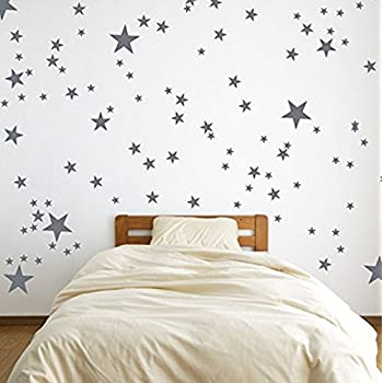Silver Wall Decal Stars (123 Decals) | Easy To Peel Easy To Stick +