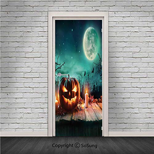Halloween Door Wall Mural Wallpaper Stickers,Fantastic Magic Night Spooky Atmosphere Candles Pumpkin on Wooden Planks Print,Vinyl Removable 3D Decals 30.4x78.7/2 Pieces Set,for Home Decor Multicolor -
