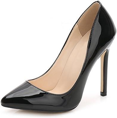 OCHENTA Escarpins en cuir verni pour femme Beige Noir 11 noir., 39.5 EU