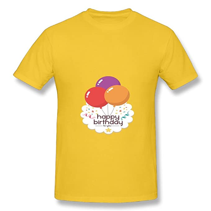 Evelyn C Connor Mens Vector Happy Birthday Balloons Funny Running Yellow T Shirts XXL
