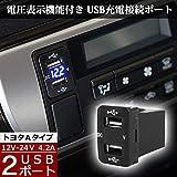 【ハイエース 200系 4型 5型 対応】(ブルーLED) 12V-24V 4.2A デュアル USBポート 電圧表示機能付き サービスホール 電源アダプター 充電器 トヨタAタイプ