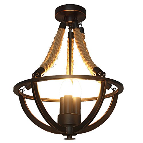 Lovedima Rustic Hemp Rope Iron Basket Semi Flush Mount Chandelier Black Ceiling Light with 3 Candle Lights
