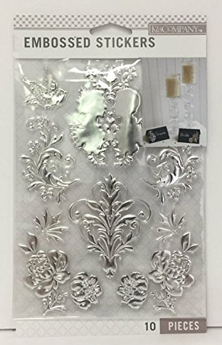 (K & Company Silver Foil Wedding Embossed Stickers)