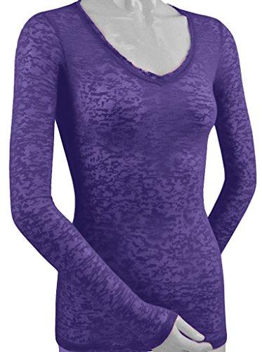 - Kavio! Women Burnout Raw Edge V Neck Long Sleeve Purple L
