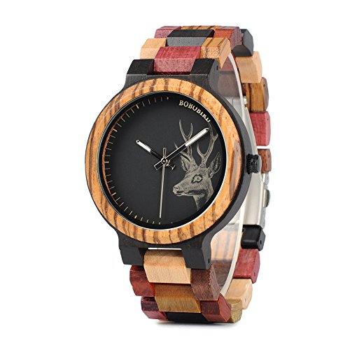 BOBO BIRD Mens Colorful Wooden Watches Classic Leisure Quartz Wristwatches with Cute Deer Pattern Unique Couple Watches for Lovers for $<!--$32.99-->