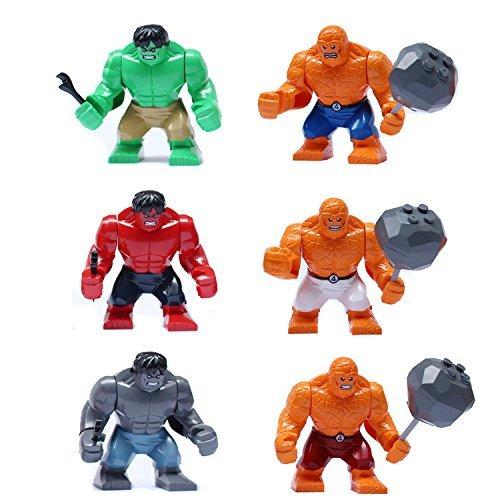 (H & F *Ambizu*) New 6pcs Hulk & Fantastic Four the Thing Marvel Avengers Building Bricks Blocks Super Hero Figures Minifigures Toys Lego