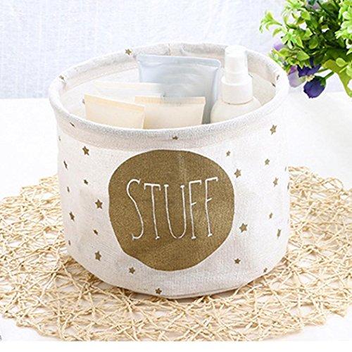 Storage Box,IEason Cotton Linen Desktop Storage Basket Sundries Storage Box (B)