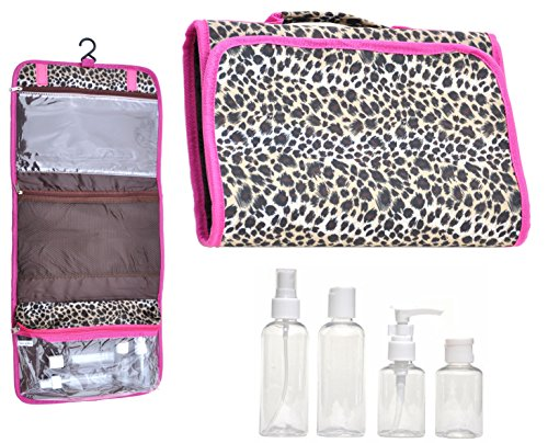 [Large Animal Print Hanging Travel Makeup Toiletries Cosmetic Bag Case Organizer with 4 Pack Travel Size Bottle Set Gift Idea Teen Girls Women Mom] (Last Minute Costume Ideas College)