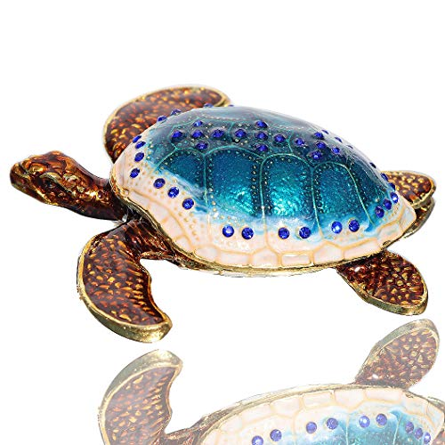 Waltz&F Sea Turtle Crystal Studded Pewter Jewelry Trinket Box Bejeweled Hand-Painted Ring Holder Mother`s Day Gift