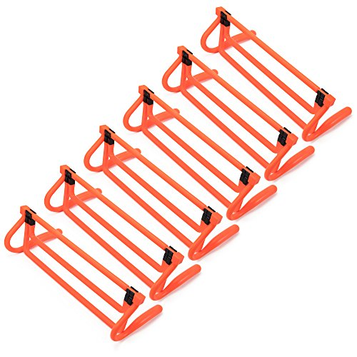 6-Pack of Agility Hurdles  Neon Orange with Adjustable Height Extenders & Carry Bag, Multisport Plyometric Fitness & Speed Training Equipment by Crown Sporting Goods