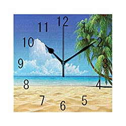FUWANK Square Wall Clock Battery Operated Quartz Analog Quiet Desk 8 Inch Clock, Palm Tree Leaves in The Tropical Sand Beach Sea Landscape Theme Graphic Print