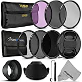 52MM Vivitar UV CPL FLD Filters, Altura Photo ND Filter Set, Collapsible Rubber Lens Hood, Tulip Lens Hood Bundle for Lenses with a 52mm Filter Size