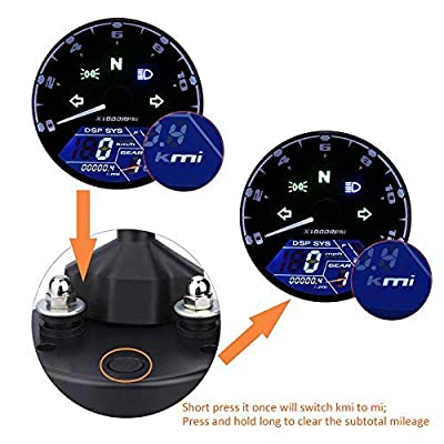 199 KMH MPH 12000 RPM LCD Digital Speedometer Tachometer Odometer Speedometer Oil Meter Multifunction With Night Vision Dial: Automotive
