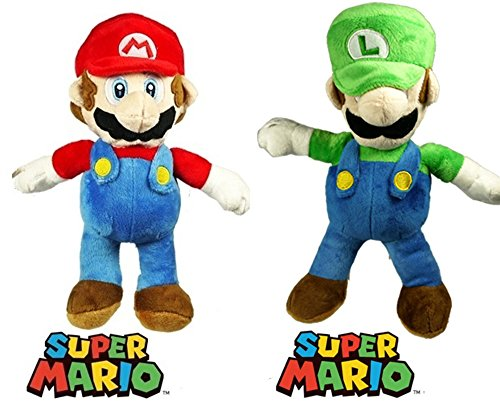 Mario Plush Toy Set Bundle contains Super Mario Bros Mario And Luigi 12 Inch Plush