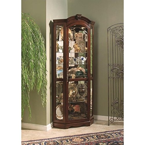 Pulaski Corner Curio, 33 by 24 by 78-Inch, Brown