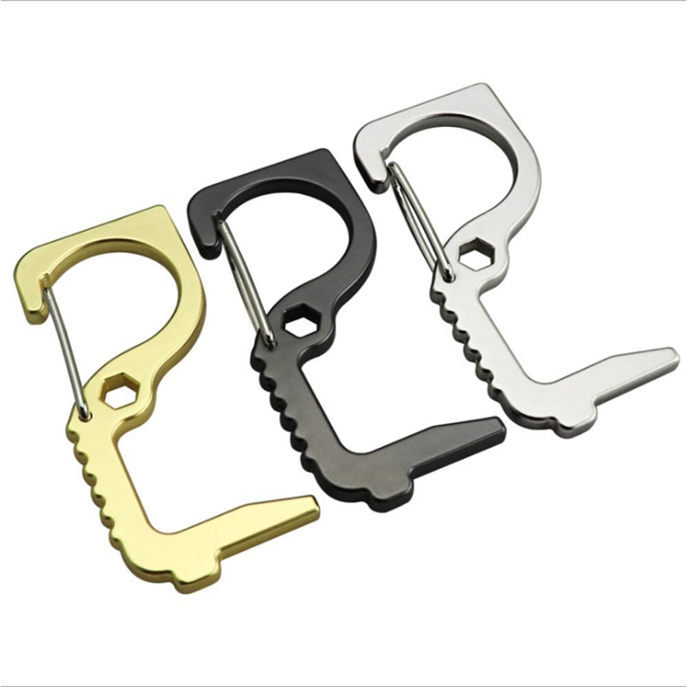 KJRJZY 3PCS sin contacto de la mano de latón Abridor de puerta, reutilizable portero automático EDC con la cadena dominante de Prensa Ascensor herramienta for mantienen limpias las manos