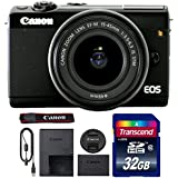Canon EOS M100 Mirrorless Digital Camera with 15-45mm Lens (Black) + 32GB Memory Card