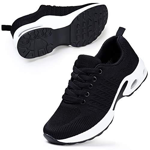 STQ Laufschuhe Damen Sneaker Freizeit Atmungsaktiv Leichtgewichts Sportschuhe Straßenlaufschuhe für Fitness Gym Walkingschuhe