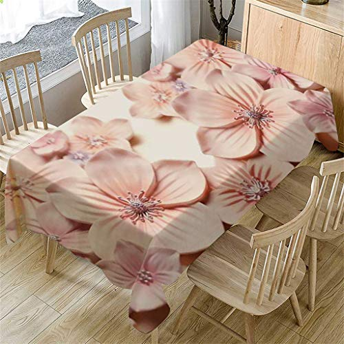 m·kvfa 3D Flower Table Cloth Rectangular Tea Table Cover Dining Home Kitchen Decor Garden Party Indoor Outdoor Tablecloth for Wedding Restaurant Party Coffee Shop Picnic (A) from *m·kvfa* Home Textiles