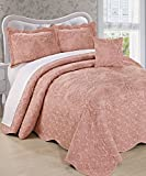 Serenta Damask 4 Piece Bedspread Set, King, Dusty Pink