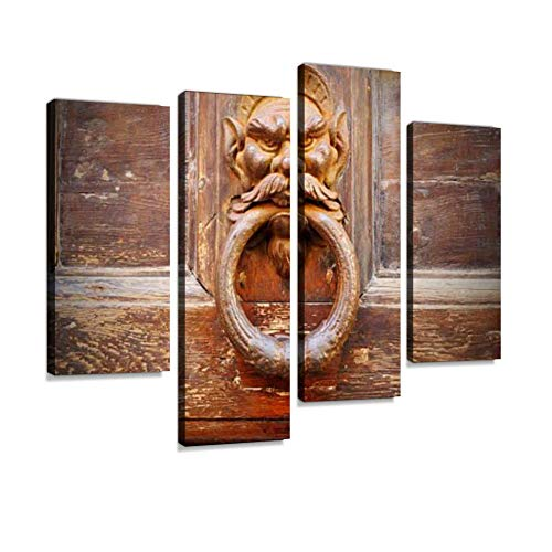 Ancient Devil Door Knocker Canvas Wall Art Hanging Paintings Modern Artwork Abstract Picture Prints Home Decoration Gift Unique Designed Framed 4 Panel