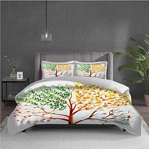 Watercolor Extra Large Quilt Cover Tree with Changing Seasons Effect on Its Crown Nature Ecology Foliage Theme Can be Used as a Quilt Cover-Lightweight (Queen) Multicolor