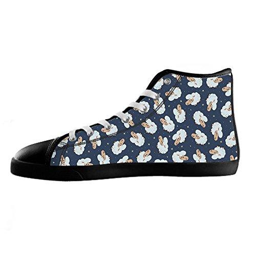 Chaussures De Toile Mens Sheep Pattern Personnalisé Haute Lacets De Chaussures Sur Des Chaussures De Baskets Chaussures De Toile.