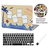 Laptop Hard Case MacBook Air 13 inch Case A1369 A1466 Matte Rubberized Hard Shell Case Cover (Modal: A1369 & A1466) with A1369 A1466 Silicon Keyboard Cover and Dust Brush (DIY Window Design)