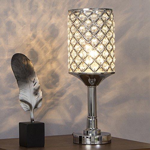 SOTTAE Fashionable Elegant Style Living Room Bedroom Bedside Table Lamp, Clear crystal (Crystal Living Room Table)