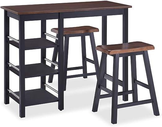 vidaXL Set Muebles Bar 3 Piezas Negro Mobiliario Mesa Silla Alta ...