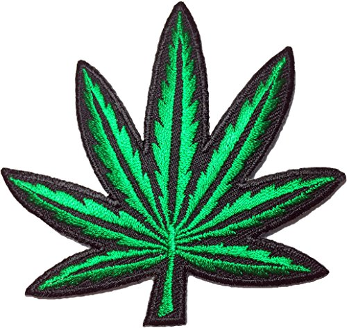 Marijuana weed leaf 8.8 x 8cm. Music Band retro hippie Logo Jacket Vest shirt hat blanket backpack T shirt Patches Embroidered Appliques Symbol Badge Cloth Sign Costume Gift 8.5 x 8
