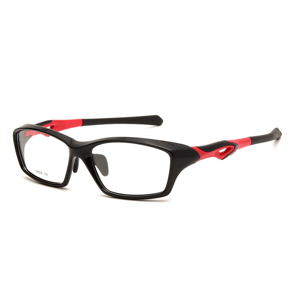 797f93049976 Amazon.com  Langford Sport Fashion Eyewear Glasses For Men TR-90  Rectangular Full Frames With 56 mm Clear Plastic Lens 4 Colors 2057  (Black)  Clothing