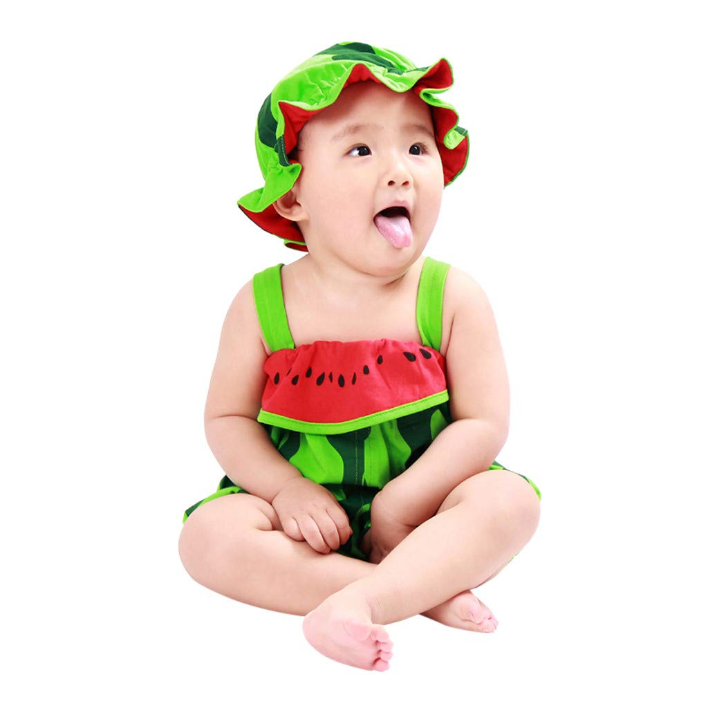 NUWFOR Newborn Baby Boy Girls Cartoon Hat Infant Rompers Jumpsuit Outfits Clothes(Green,Orange,0-6 Months