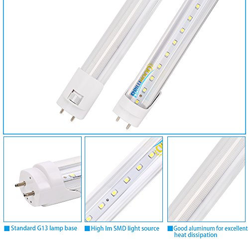 Brillihood T8 LED Shop Light Tube, 4FT, 18w (40W equivalent), Dual-End Powered, 6000K Cool White, 2000 Lumens, Clear Cover Lens, T8 T10 T12 Fluorescent Bulbs Replacement, (Pack of 10) by Brillihood (Image #1)