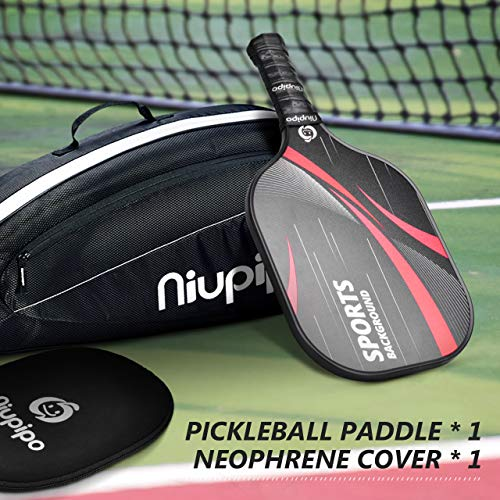 niupipo Professional Pickleball Paddle, Pickleball Paddles with Carbon Fiber Surface, Nomex Honeycomb Core, Ultra Cushion, 4.5-Inch Grip Size, 7.8-Ounce Lightweight with Cover, for Advanced Players
