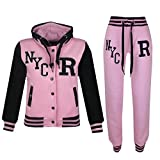 A2Z 4 Kids Kids Girls Boys Baseball Tracksuit - T.S Baseball NYC Baby Pink 7-8