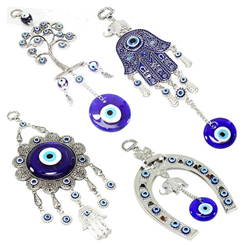 Set of 4 Blue Blue Evil Eye Keychain Key Ring Wall Hanging Amulets Hamsa Hand Unique Keychains Good Luck Gift (KT00039) ~ We Pay Your Sales Tax