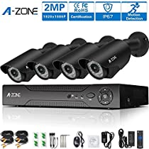 A-ZONE 4 Channel AHD 1080P DVR Security Camera System with 4 HD 1080P Outdoor CCTV Bullet Cameras Motion Detection & Alarm Push,IP67 Weather-Proof Metal,NO HDD