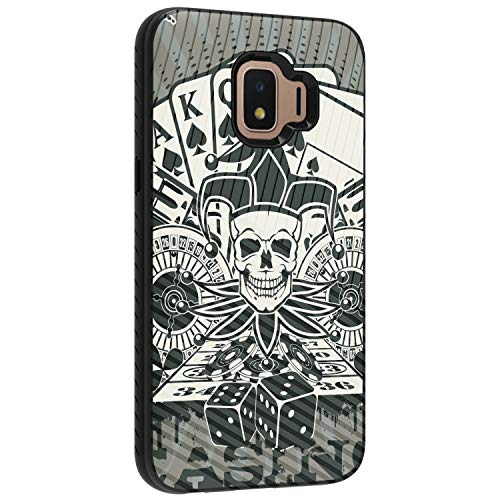 (TurtleArmor | Compatible with Samsung Galaxy J2 Core Case | J2 Dash Case | J2 Pure Case | Slim Hybrid Engraved Grooves Hard Shell TPU Dual Layer Case Cool Designs - Joker Skull )